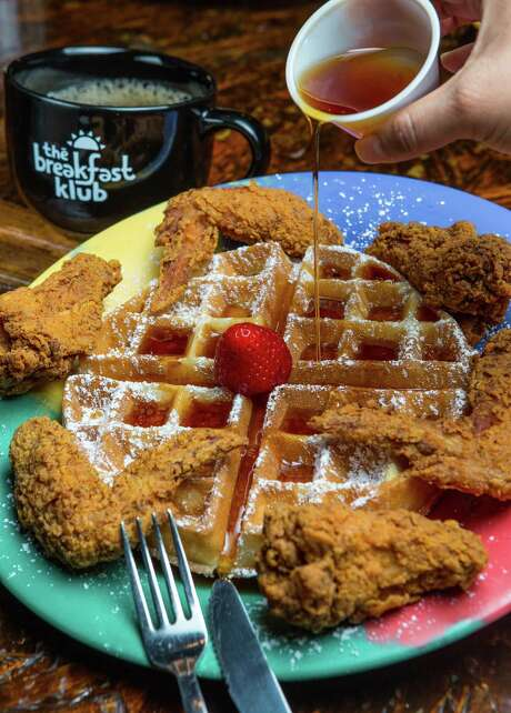 Fried chicken and waffles at The Breakfast Klub
