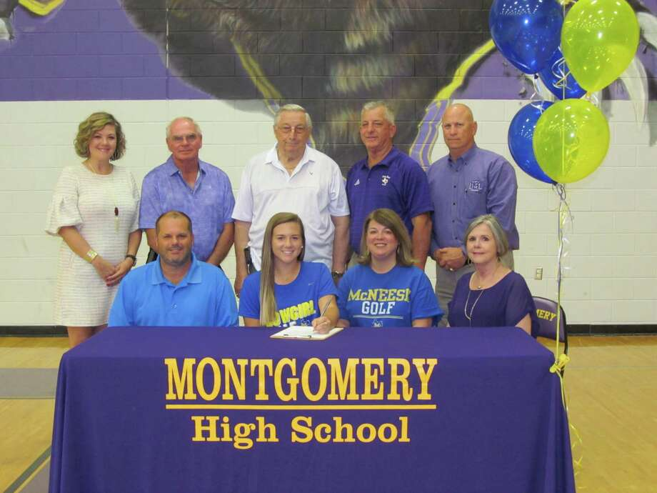 Montgomery High School Golfer, Cameron Newhouse, signed her letter of intent to play at McNeese State. Cameron is pictured with her family Dixie & Steve Estep, Weldon Clampitte and Lisa & Brian Newhouse. Montgomery ISD personnel pictured are Montgomery ISD Athletic Director Clint Heard, Montgomery High School Principal, Brandi Hendrix, Head Golf Coach Kirk Thomason. Photo: Photo Provided