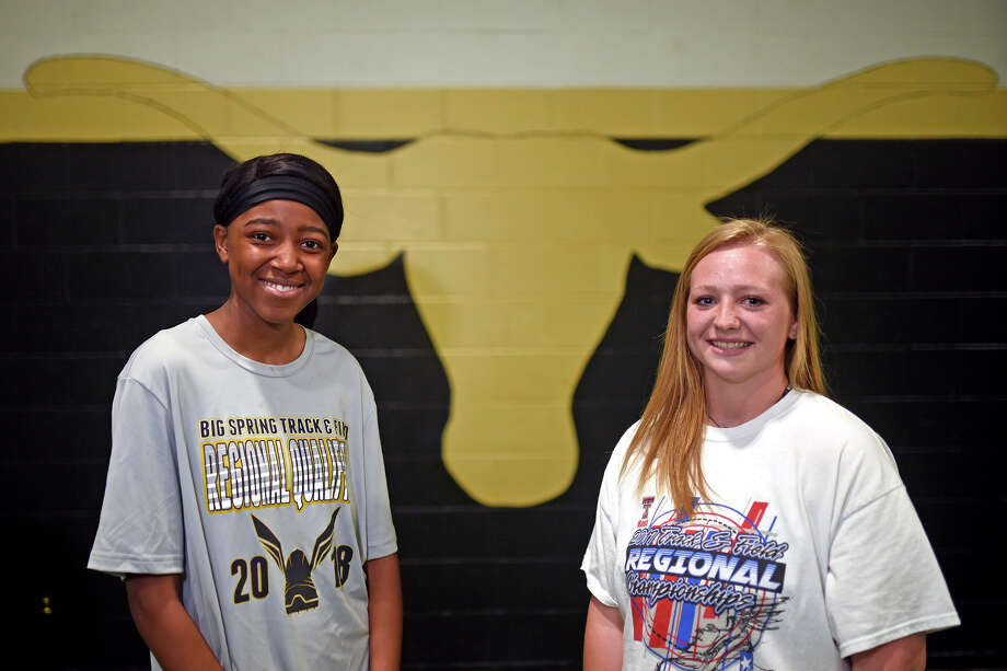 From left, Big Spring senior high jump competitor Ajanique Wells, left, and senior discus thrower Carlie Roberts, right, photographed May 8, 2018 at Big Spring High School. James Durbin/Reporter-Telegram Photo: James Durbin
