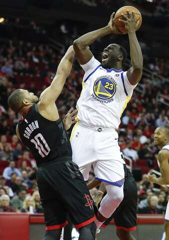 a41b1578d216 Houston Rockets guard Eric Gordon (10) fouls Golden State Warriors forward  Draymond Green (