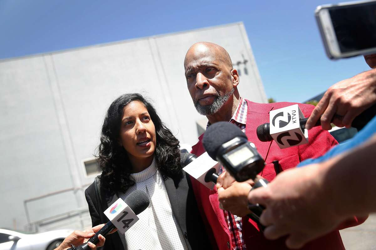 Kenneth Humphrey (right) and Anita Nabha (left), talk to members of the media on Wedesday, May 9, 2018 in San Francisco, Calif. Months after a state appeals court found that his $350,000 bail was unconstitutionally excessive because he couldn't come close to affording it, Humphrey is released from jail.