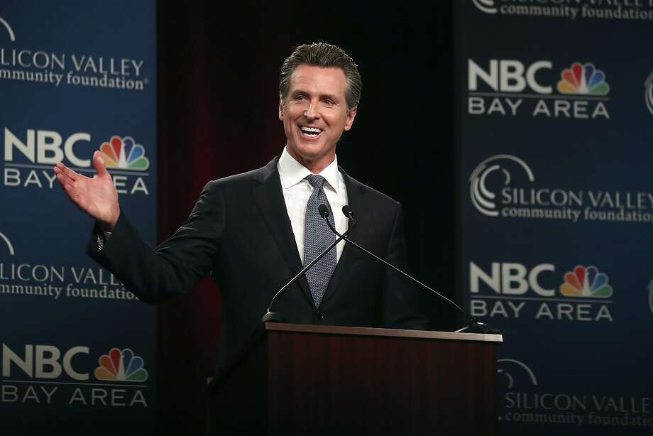 Democratic gubernatorial candidate Gavin Newsom speaks during a debate at the California Theatre, Tuesday, May 8, 2018, in San Jose, Calif. (Aric Crabb/San Jose Mercury News-Bay Area News Group via AP) Photo: Aric Crabb / Associated Press