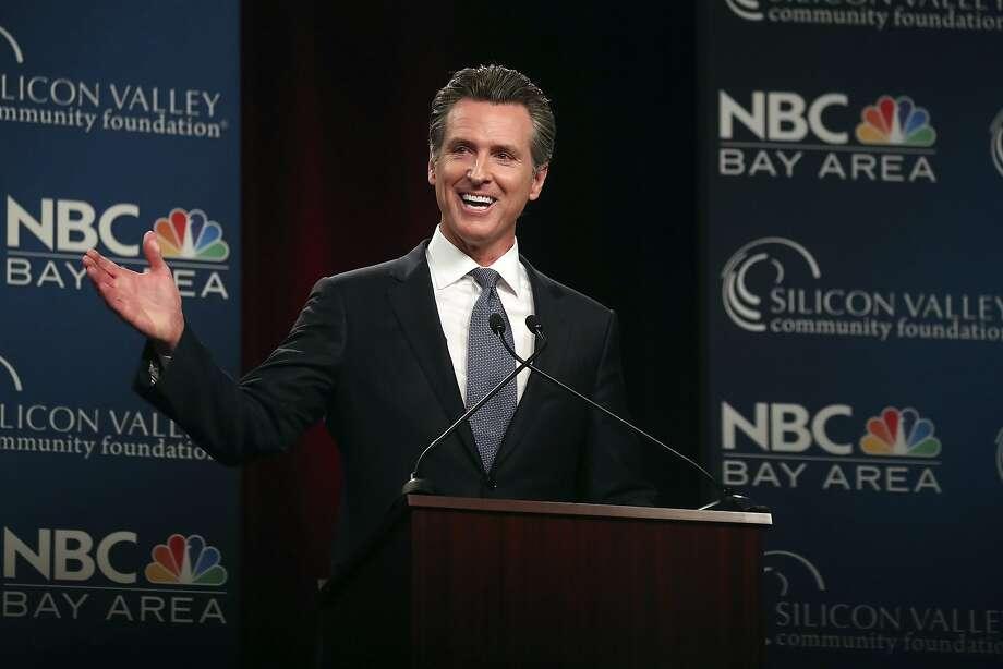Democratic gubernatorial candidate Gavin Newsom speaks during a debate at the California Theatre Tuesday in San Jose. Photo: Aric Crabb / Associated Press