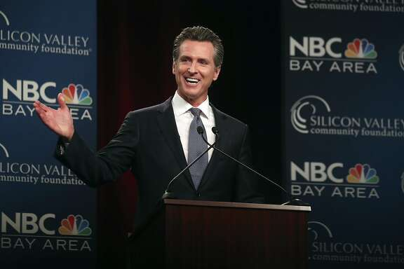 Democratic gubernatorial candidate Gavin Newsom speaks during a debate at the California Theatre, Tuesday, May 8, 2018, in San Jose, Calif. (Aric Crabb/San Jose Mercury News-Bay Area News Group via AP)