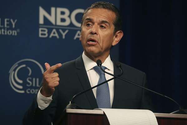 Democratic gubernatorial candidate Antonio Villaraigosa speaks during a debate at the California Theatre, Tuesday, May 8, 2018, in San Jose, Calif. (Aric Crabb/San Jose Mercury News-Bay Area News Group via AP)