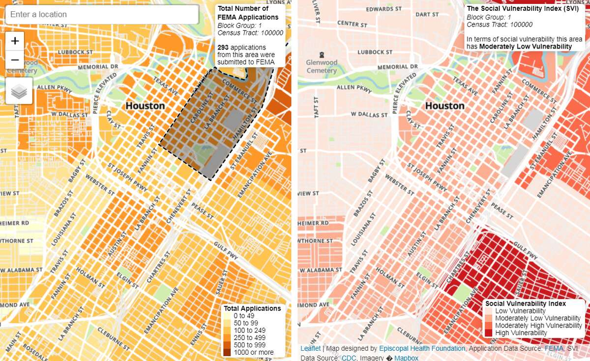 A pair of new maps from the Episcopal Health Foundation look at the number of approved applications from the Federal Emergency Management Agency (FEMA) and the Centers for Disease Control and Prevention's social vulnerability index as a way to assess the effectiveness of Hurricane Harvey relief efforts.