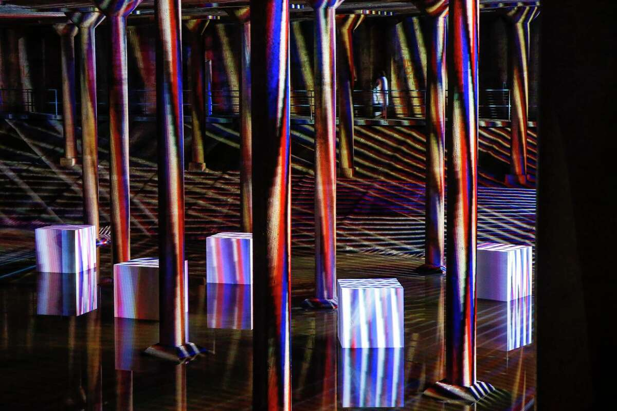 """Carlos Cruz-Diez's site specific """"Spacial Chromointerference"""" installation filled the Buffalo Bayou Park Cistern from May 2018 to Jan. 13, 2019. (Michael Ciaglo / Houston Chronicle)"""
