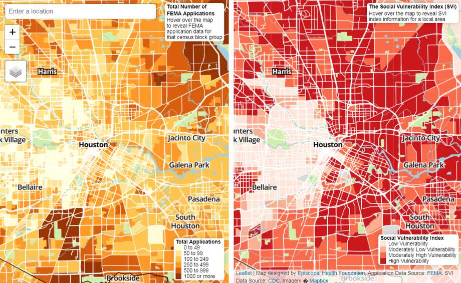 A pair of new maps from the Episcopal Health Foundation look at the number of approved applications from the Federal Emergency Management Agency (FEMA) and the Centers for Disease Control and Prevention's social vulnerability index as a way to assess the effectiveness of Hurricane Harvey relief efforts. Photo: Episcopal Health Foundation