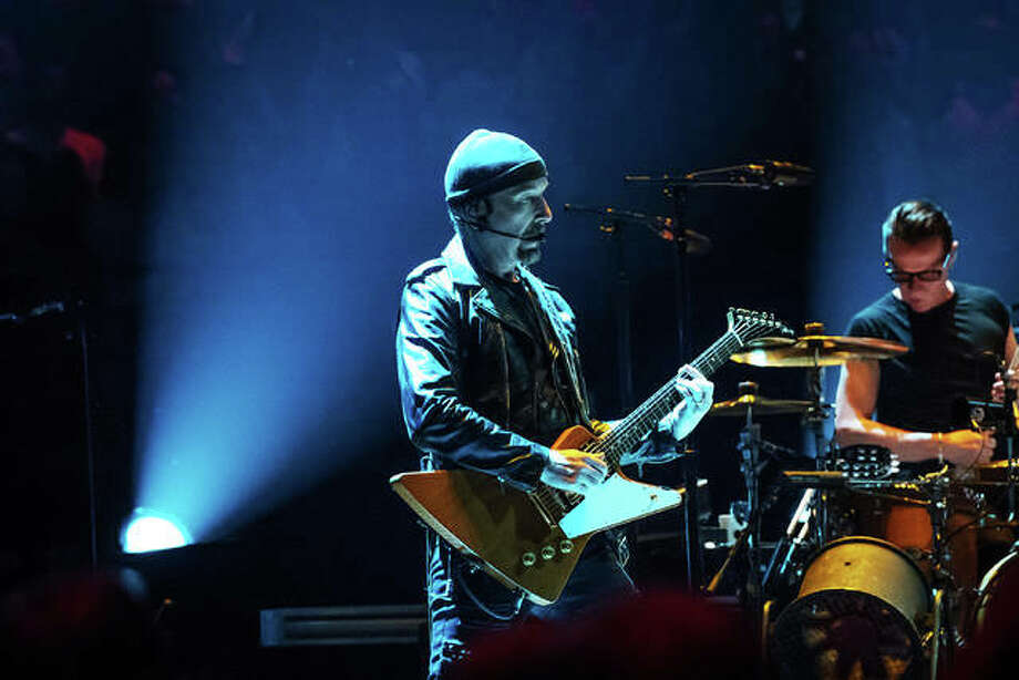 "U2's ""The Edge"" on stage in St. Louis at Scottrade center during the second stop of the band's North American Experience + Innocence Tour. Photo:       Photo Credit Keith Brake, Keith Brake Photography
