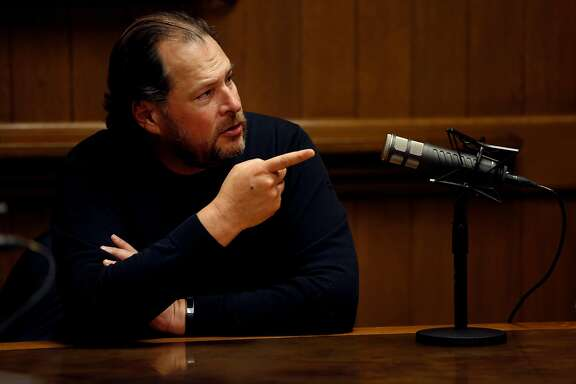 Salesforce CEO Marc Benioff is interviewed by the San Francisco Chronicle editorial board, Friday, April 6, 2018, in San Francisco, Calif.