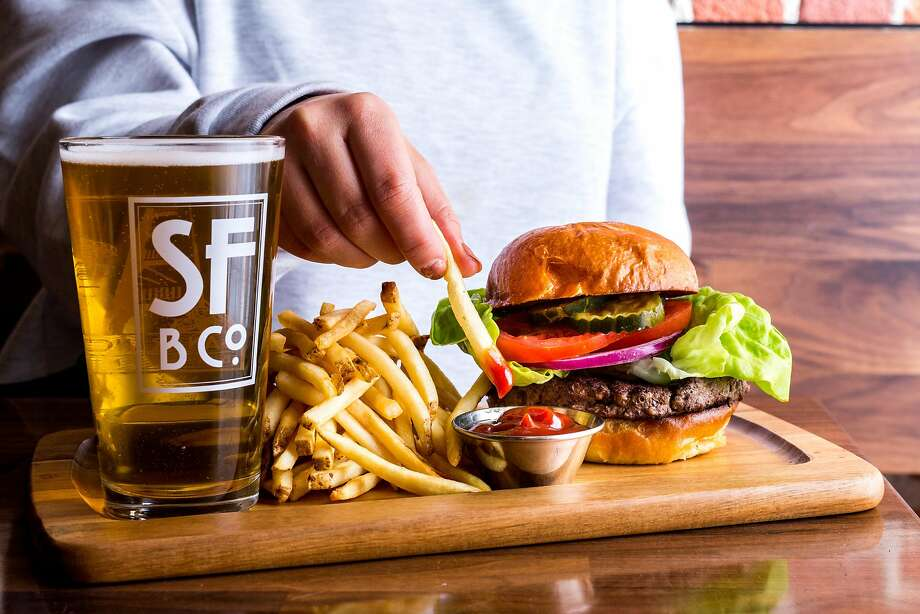 Beer and burgers at San Francisco Brewing Co. Photo: Michelle Min