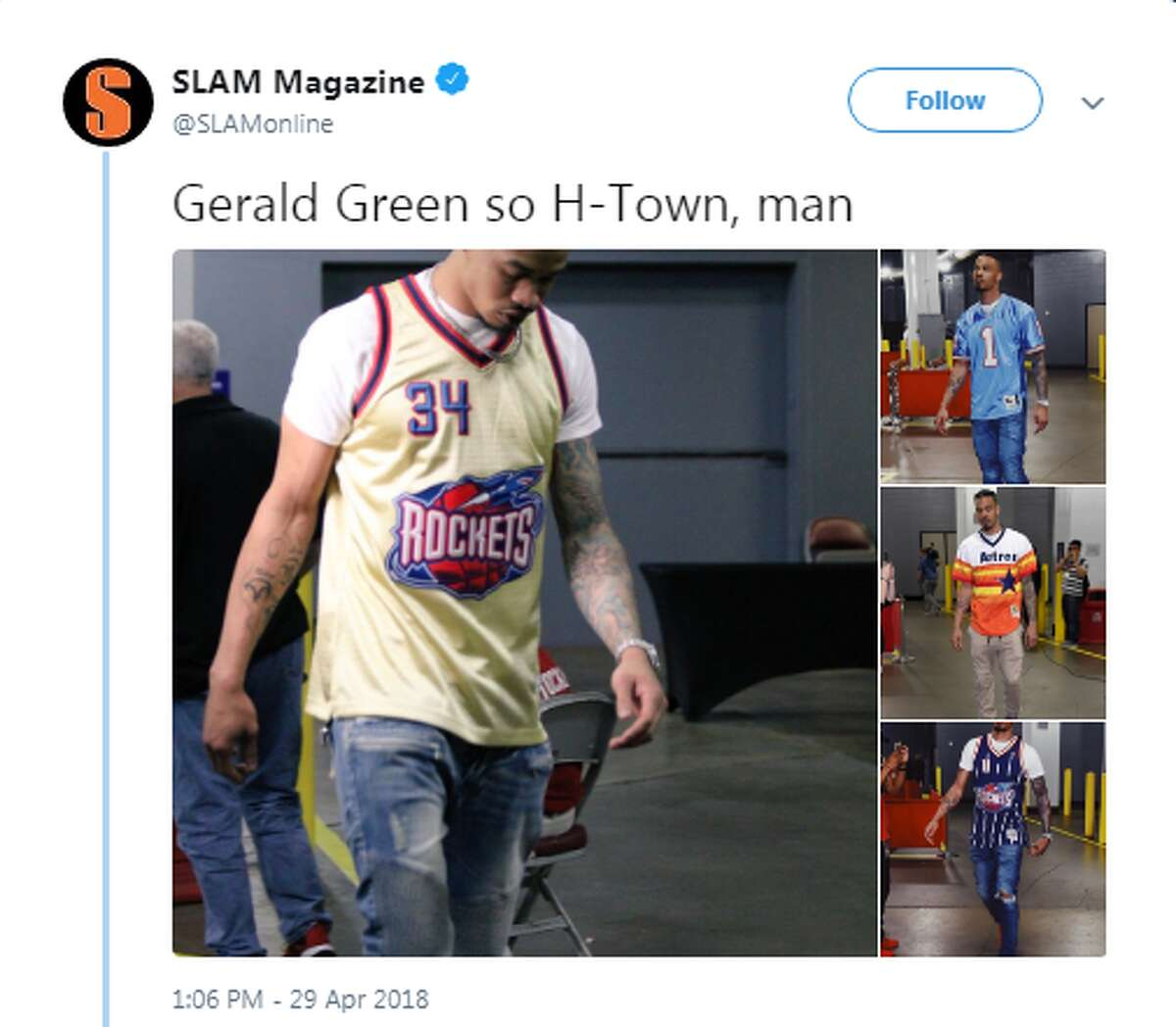 He loves a good throwback jerseyIt's no secret Green loves repping Houston and before every game, you can see the native Houstonian rocking a classic throwback jersey of Houston's biggest sports figures.Source: Twitter
