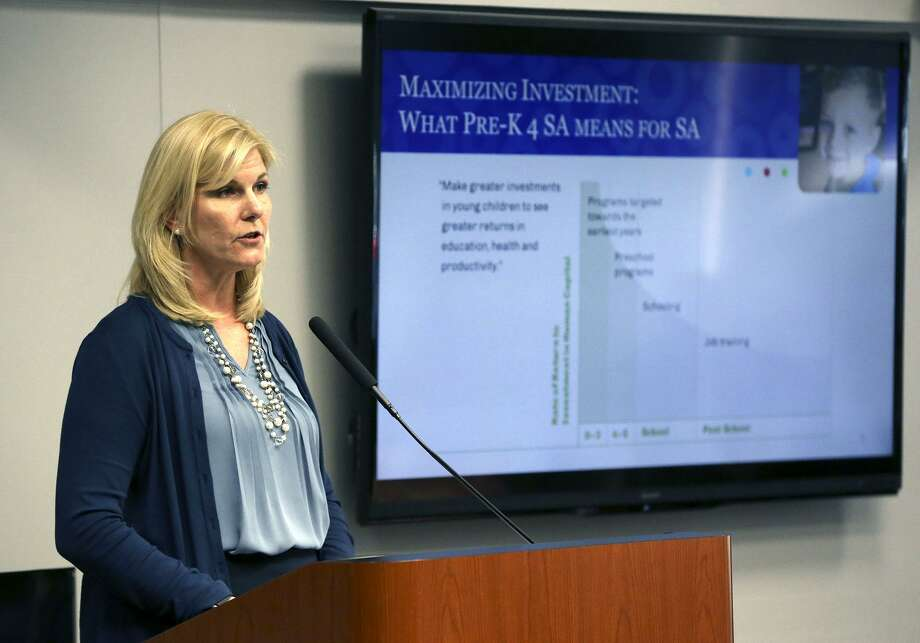Pre-K 4 SA CEO Sarah Baray makes a presentation Wednesday May 9, 2018 to the San Antonio city council about the 2019 annual budget. The $47.3 million budget is funded by a 1/8th cent sales tax. Pre-K 4 SA is a full-day prekindergarten program that also offers free afterschool care until 6:00 p.m. Photo: JOHN DAVENPORT, STAFF / San Antonio Express-News / ©John Davenport/San Antonio Express-News