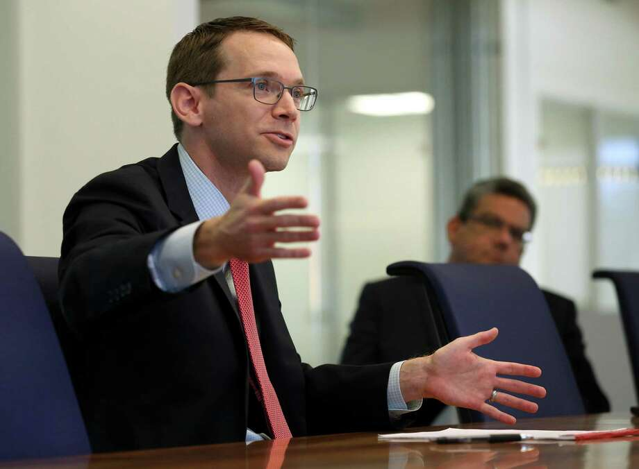 In this file photo, Texas Education Agency Commissioner Mike Morath speaks with the Houston Chronicle's editorial board about the looming state action against Houston ISD on Wednesday, May 9, 2018, in Houston. ( Godofredo A. Vasquez / Houston Chronicle ) Photo: Godofredo A. Vasquez, Houston Chronicle / Houston Chronicle / Godofredo A. Vasquez