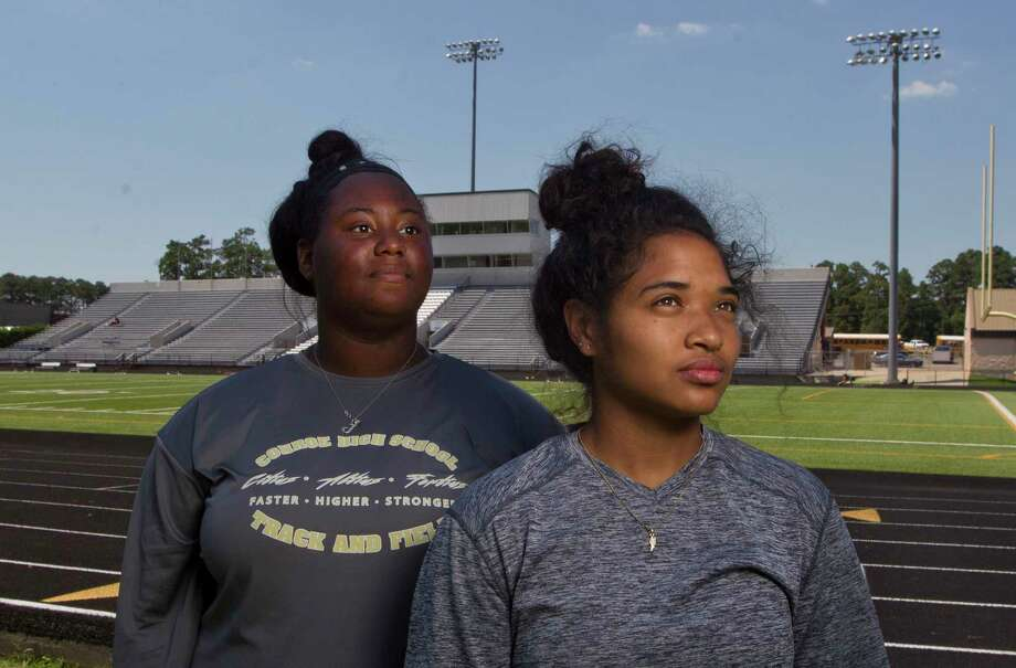 Jadyn Walden and Jznae Kim will represent Conroe High School's track program at this weekend's UIL State Track & Field Championships in Austin. Walden will compete in shot put, while Kim will compete in the long jump and triple jump Photo: Jason Fochtman, Staff Photographer / © 2018 Houston Chronicle