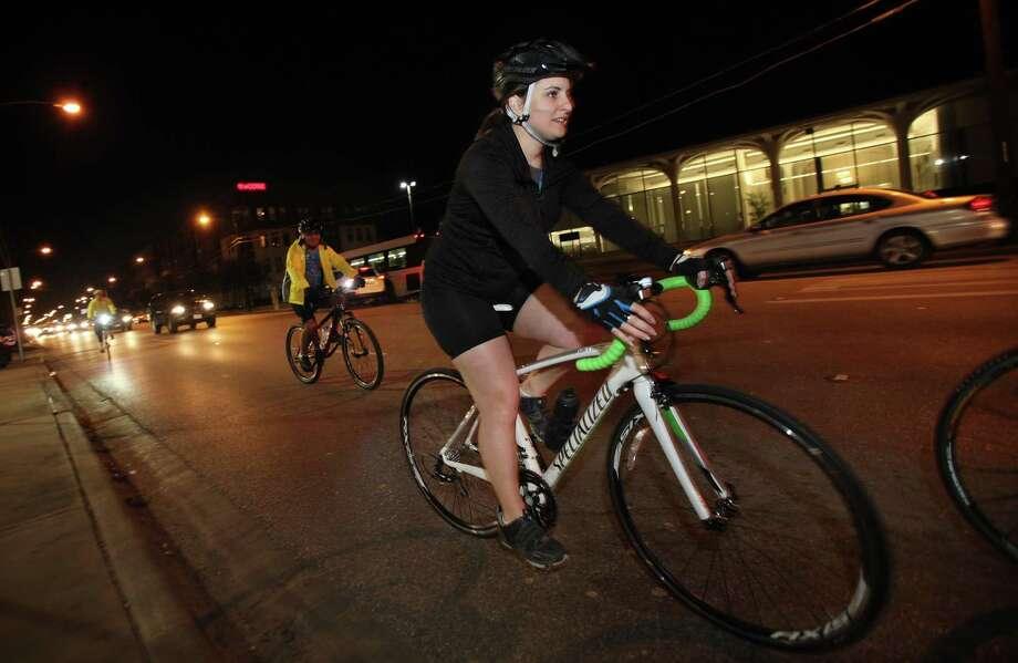 Members of The West End cycling club ride along Washington Avenue near Yale Street in 2014. Photo: Mayra Beltran, Staff / Houston Chronicle / © 2013 Houston Chronicle