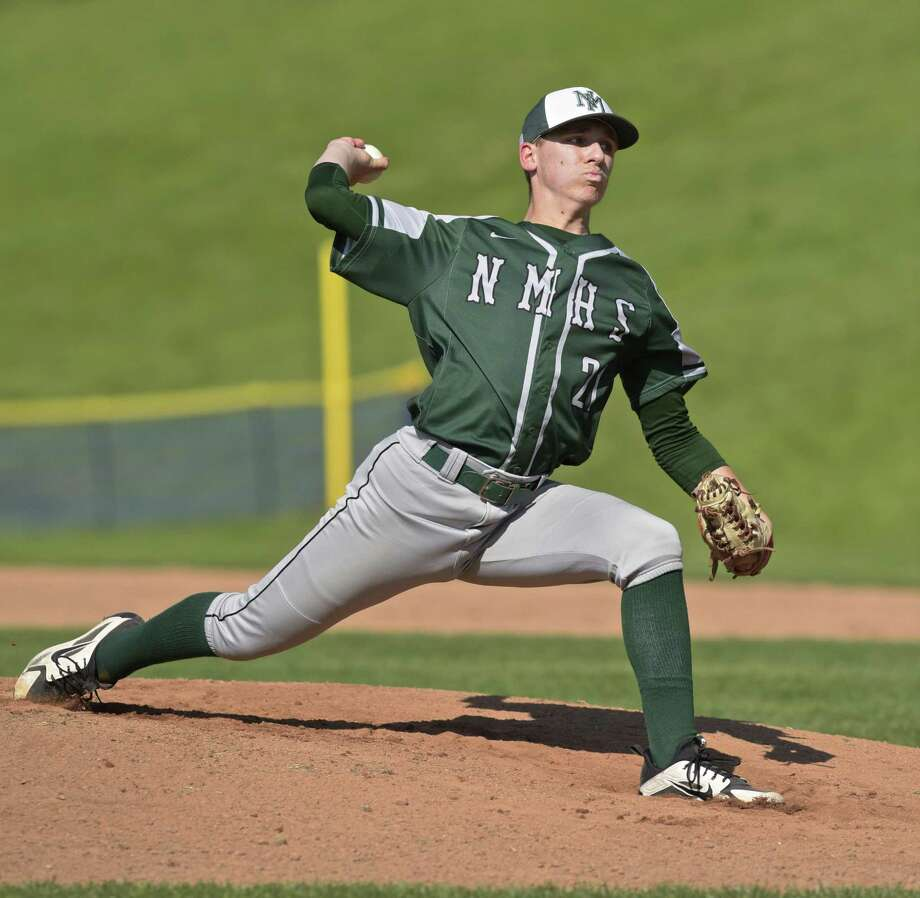 Timothy Cianciolo (21) started on the mound for New Milford in the boys baseball game between New Milford and Brookfield high schools, Wednesday afternoon, May 9, 2018, at Brookfield High School, Brookfield, Conn. Photo: H John Voorhees III / Hearst Connecticut Media / The News-Times