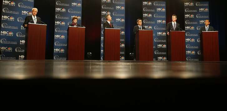 Republican gubernatorial candidate John Cox, from left, Democratic candidate Delaine Eastin, Republican candidate Travis Allen, and Democratic candidates John Chiang, Gavin Newsom and Antonio Villaraigosa, participate in a debate at the California Theatre, Tuesday, May 8, 2018, in San Jose, Calif. (Aric Crabb/San Jose Mercury News-Bay Area News Group via AP)