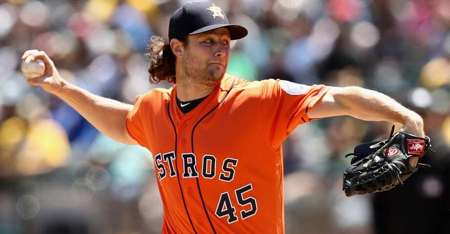 OAKLAND, CA - MAY 09:  Gerrit Cole #45 of the Houston Astros pitches against the Oakland Athletics in the first inning at Oakland Alameda Coliseum on May 9, 2018 in Oakland, California.  (Photo by Ezra Shaw/Getty Images) Photo: Ezra Shaw/Getty Images