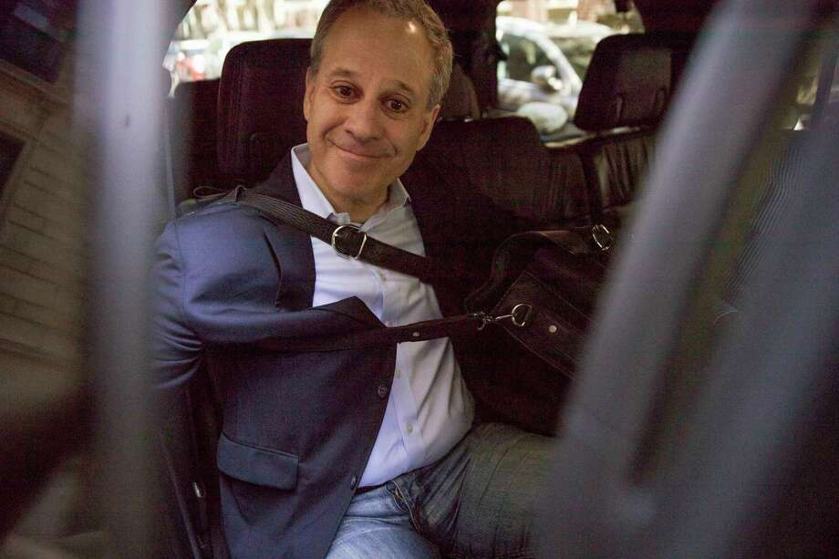 Former New York Attorney General Eric Schneiderman leaves his apartment building, Wednesday, May 9, 2018, in New York. Schneiderman resigned Monday, just hours after accounts of abuse by four women.  (AP Photo/Mary Altaffer) Photo: Mary Altaffer / Copyright 2018 The Associated Press. All rights reserved.
