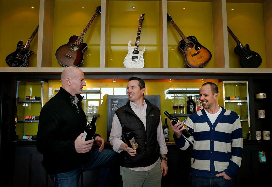 Justin Dragoo (left), Jason Scoggins and Dave Graham are the three young entrepreneurs behind BottleRock. They grew up together in Napa. Photo: Brant Ward / The Chronicle 2015