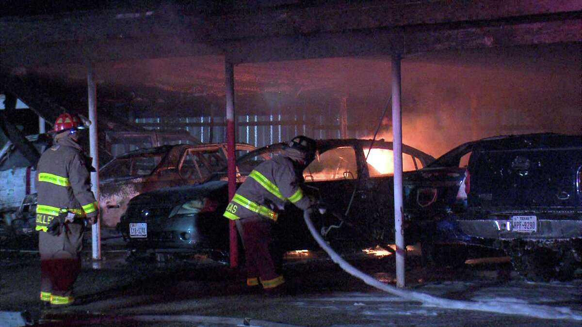 Firefighters responded to the blaze around 3 a.m. in the 300 block of Gillmore Avenue. When they first arrived, six vehicles were ablaze.