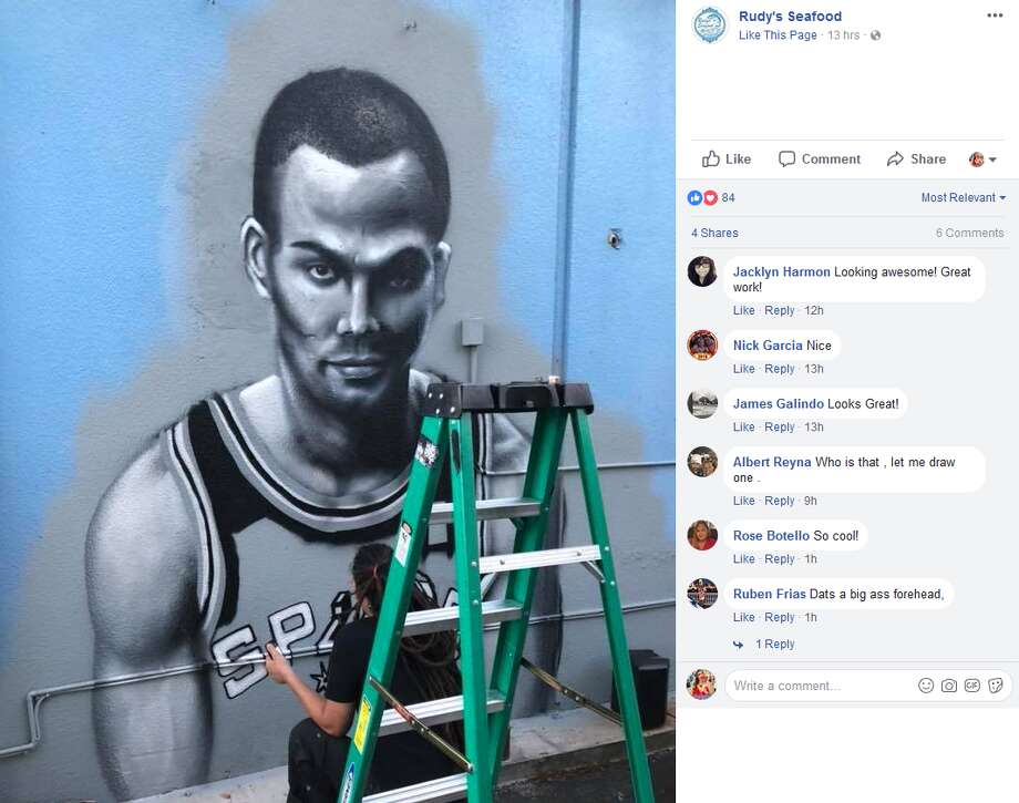 Photos posted by Rudy's Seafood show progress of the Tony Parker addition to the South Side joint's Spurs mural by Nik Soupe. Photo: Rudy's Seafood Facebook Screengrabs