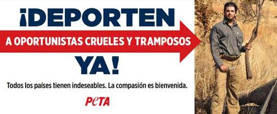 PETA's new billboard located off Texas Loop 20 in Laredo calls out Donald Trump Jr. Photo: Courtesy PETA