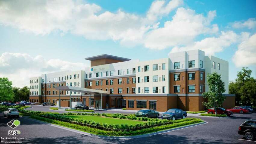 Architect's rendering shows the new Hyatt House hotel at the former Lazare auto dealership on Wolf Road in Colonie.