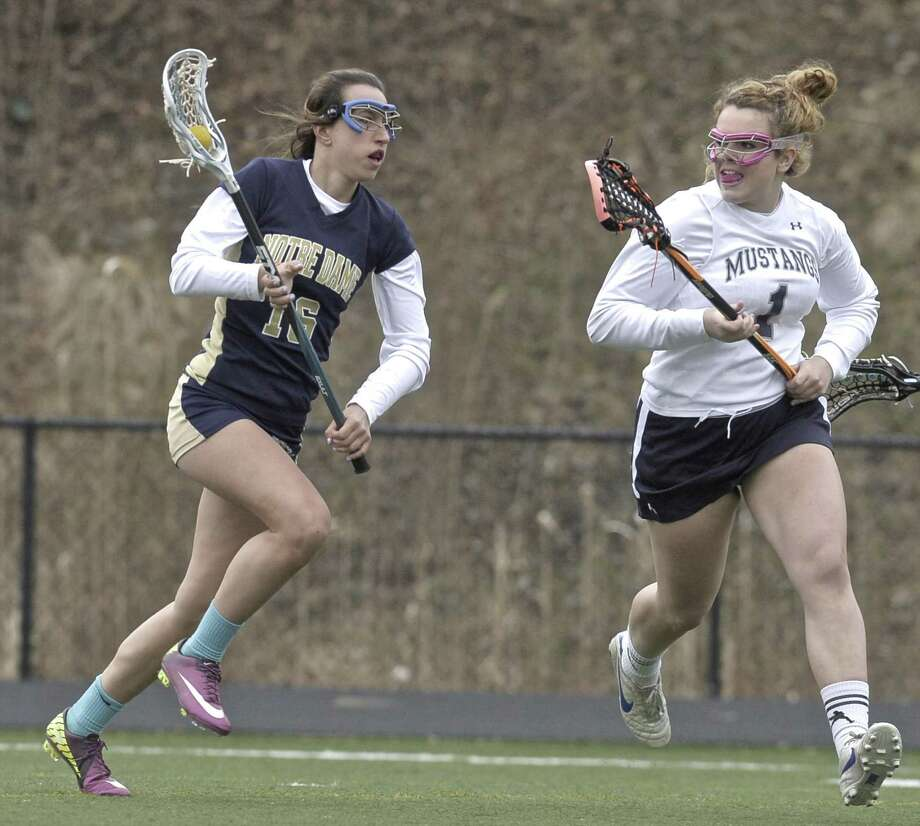 Notre Dame's Katie Ciufo (16) brings the ball upfield while being guarded by  Immaculate's Brianna Sullivan (1) during the girls high school lacrosse game between Notre Dame-Fairfield and Immaculate high schools, on Friday afternoon, April 10, 2015, played at Immaculate High School, in Danbury, Conn. Photo: H John Voorhees III / H John Voorhees III / The News-Times