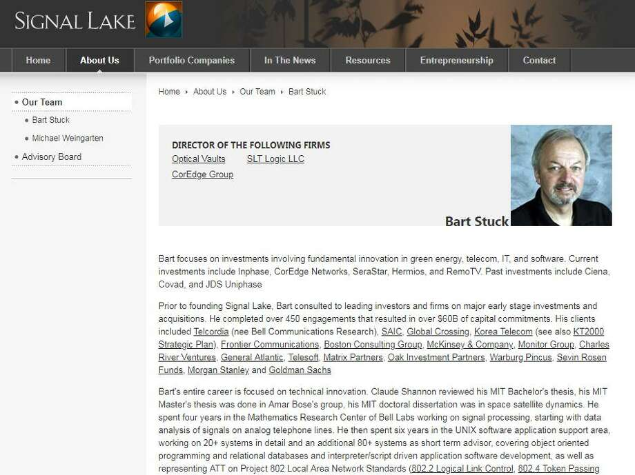 A Signal Lake Management website listing the career background of Westport, Conn. resident Barton Stuck, who was indicted in February 2018 for misleading Signal Lake investors, with Stuck and the firm fined $700,000 in May by the Connecticut Department of Banking. Photo: Hearst Connecticut Media