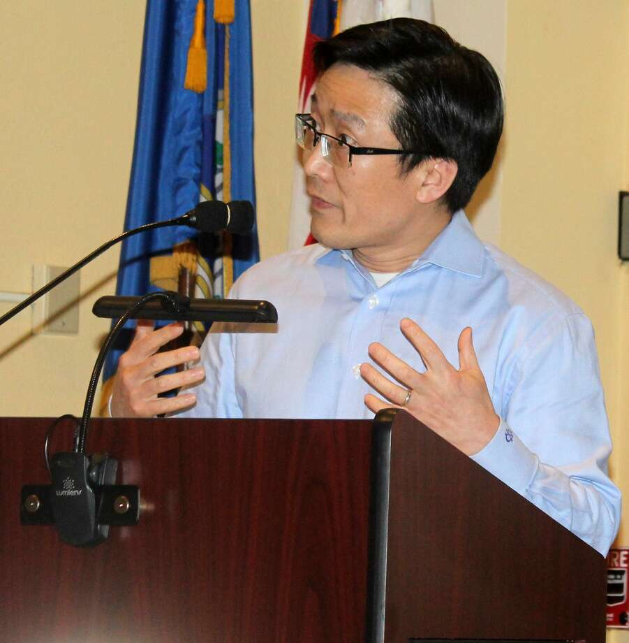 Westport resident Daniel Xue spoke at the April 19 Planning and Zoning Commission meeting in Westport Town Hall in opposition to a proposed medical marijuana dispensary in Westport. Photo: Sophie Vaughan / Hearst Connecticut Media / Westport News