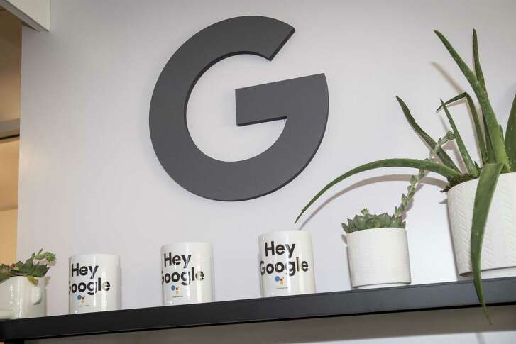 Coffee mugs with the Google logo and slogan at the 2018 Consumer Electronics Show in Las Vegas, Nevada, on Jan. 11, 2018.