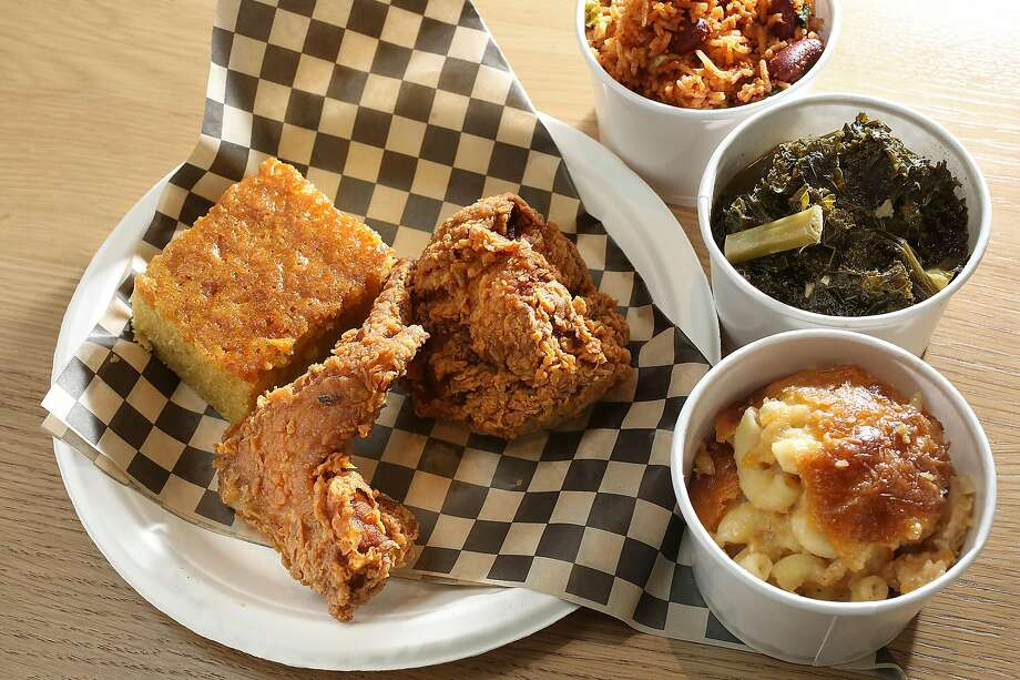 Fried kitchen with corn bread and sides at Minnie Bell's Soul Movement in the Emeryville Public Market. Photo: Liz Hafalia / The Chronicle