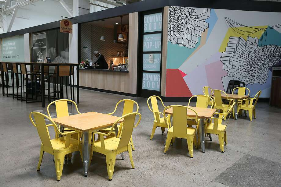 The children's dining area next to Minnie Bell's Soul Movement stand in the Emeryville Public Market. Photo: Liz Hafalia / The Chronicle