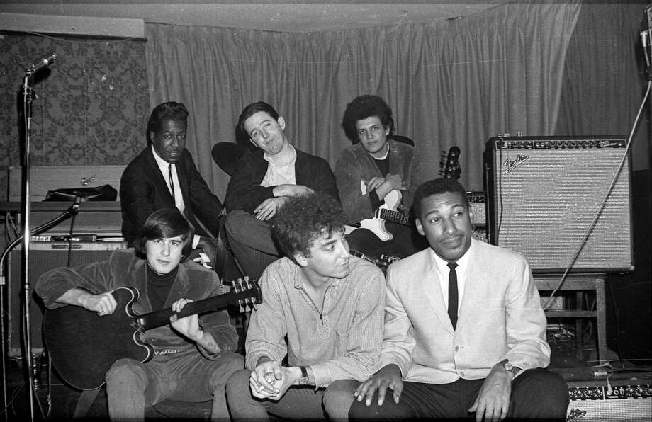 "DETROIT - CIRCA 1966: (L-R, back row) Billy Davenport, Paul Butterfield, Mike Bloomfield and (L-R, front row) Mark Naftalin, Elvin Bishop and Jerome Arnold of the rock group ""Butterfield Blues Band"" pose for a portrait at the Living End in circa 1966 in Detroit, Michigan (Photo by Wilson Lindsay/Michael Ochs Archives/Getty Images) Photo: Michael Ochs Archives / This content is subject to copyright."