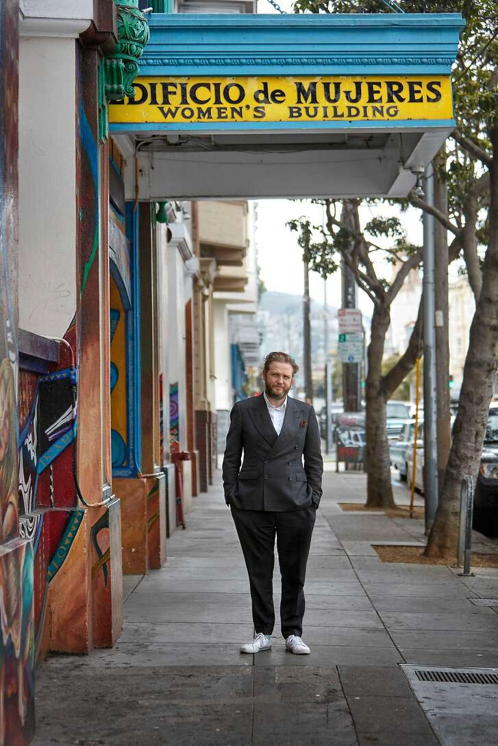 Ragnar Kjartansson in front of Maestrapeace mural at� Women's Building