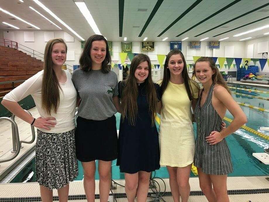 Pictured, from left, are Dow High senior swim team membersBrook Schultz, Abby Huffman, Sarah Brandstadt, Emily Schultheis and Maggie Duly, who all earned individual Academic All-State honors.