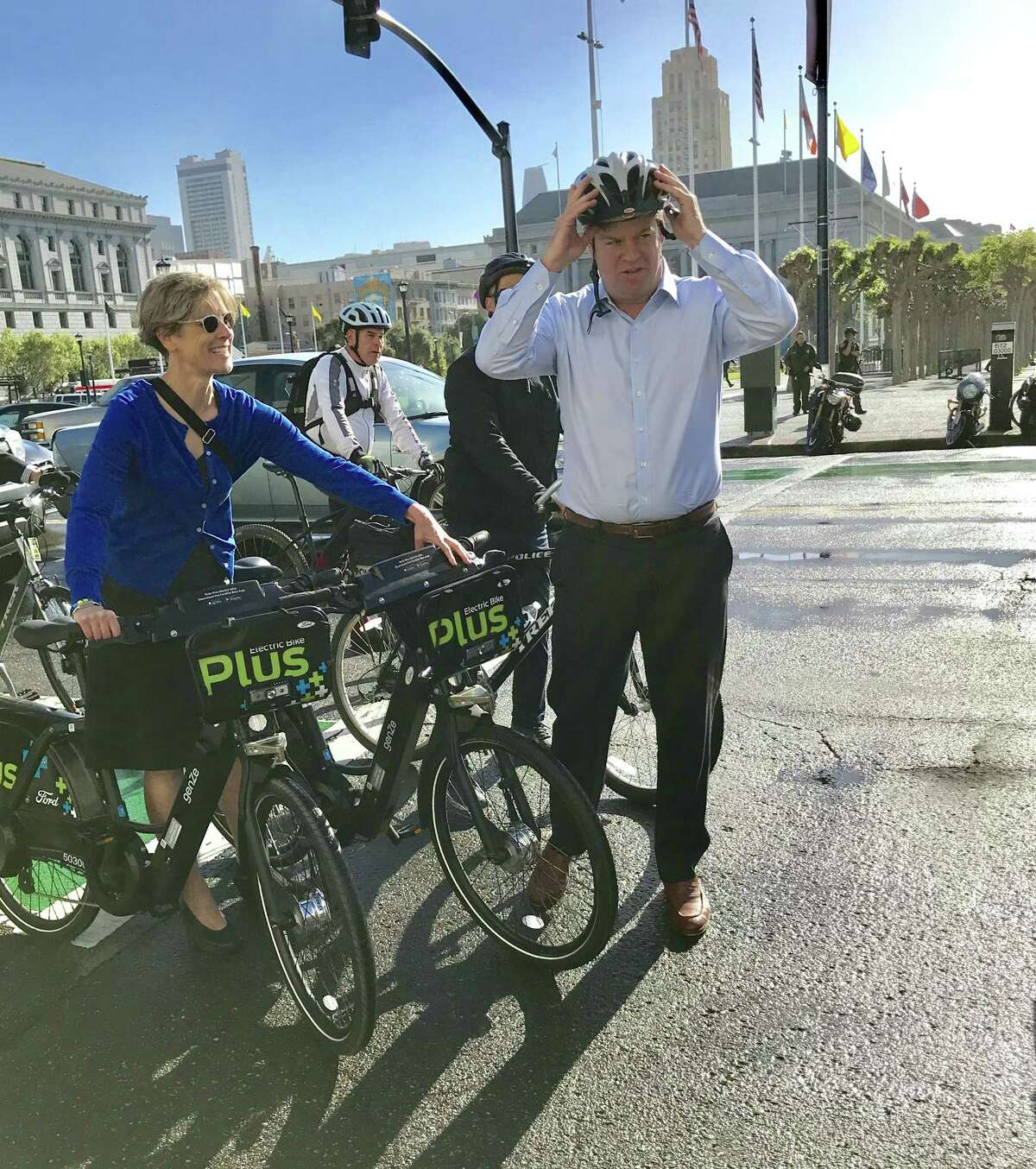 San Francisco Mayor Mark Farrell participates in Bike to Work Day, May 10, 2018.