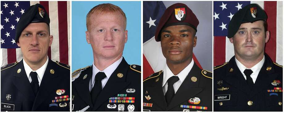 From left, Staff Sgt. Bryan Black; Staff Sgt. Jeremiah Johnson; Sgt. La David Johnson, and Staff Sgt. Dustin Wright were killed when a patrol of U.S. and Niger forces was ambushed. Photo: Associated Press