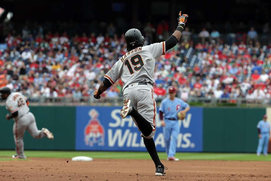 PHILADELPHIA, PA - MAY 10: Alen Hanson #19 of the San Francisco Giants celebrates after hitting a two-run home run in the second inning during a game against the Philadelphia Phillies at Citizens Bank Park on May 10, 2018 in Philadelphia, Pennsylvania. (Photo by Hunter Martin/Getty Images) Photo: Hunter Martin / Getty Images
