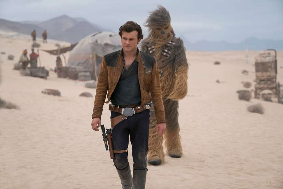 "Alden Ehrenreich plays Han Solo, originally played by Harrison Ford, and Joonas Suotamo returns as Chewbacca in ""Solo: A Star Wars Story."" Photo: Jonathan Olley / Lucasfilm"