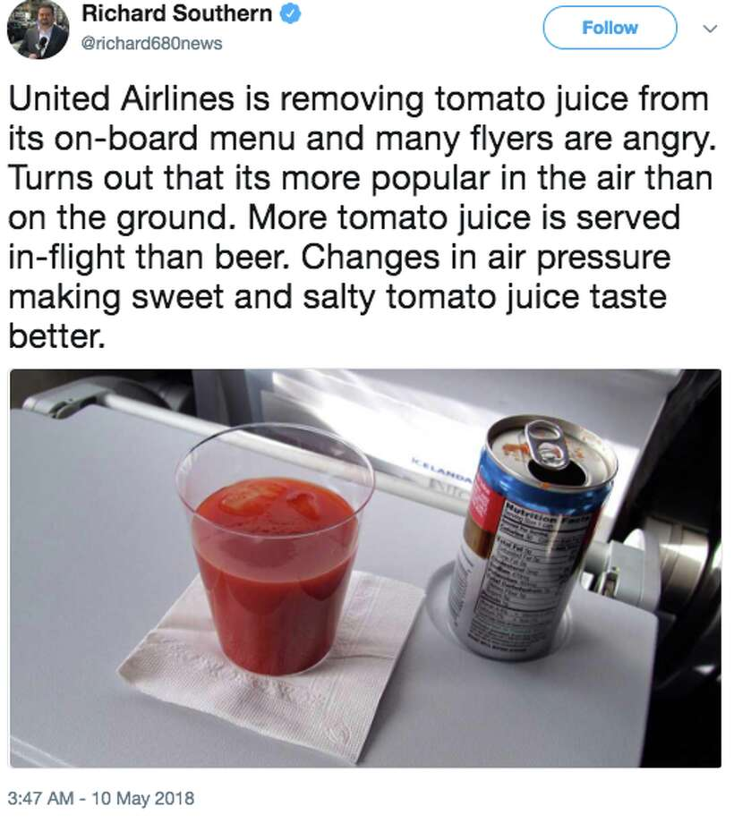 When United Airlines decided to remove tomato juice from its beverage menu on flights under four hours, many took to Twitter to express outrage. Photo: Twitter Screen Grab