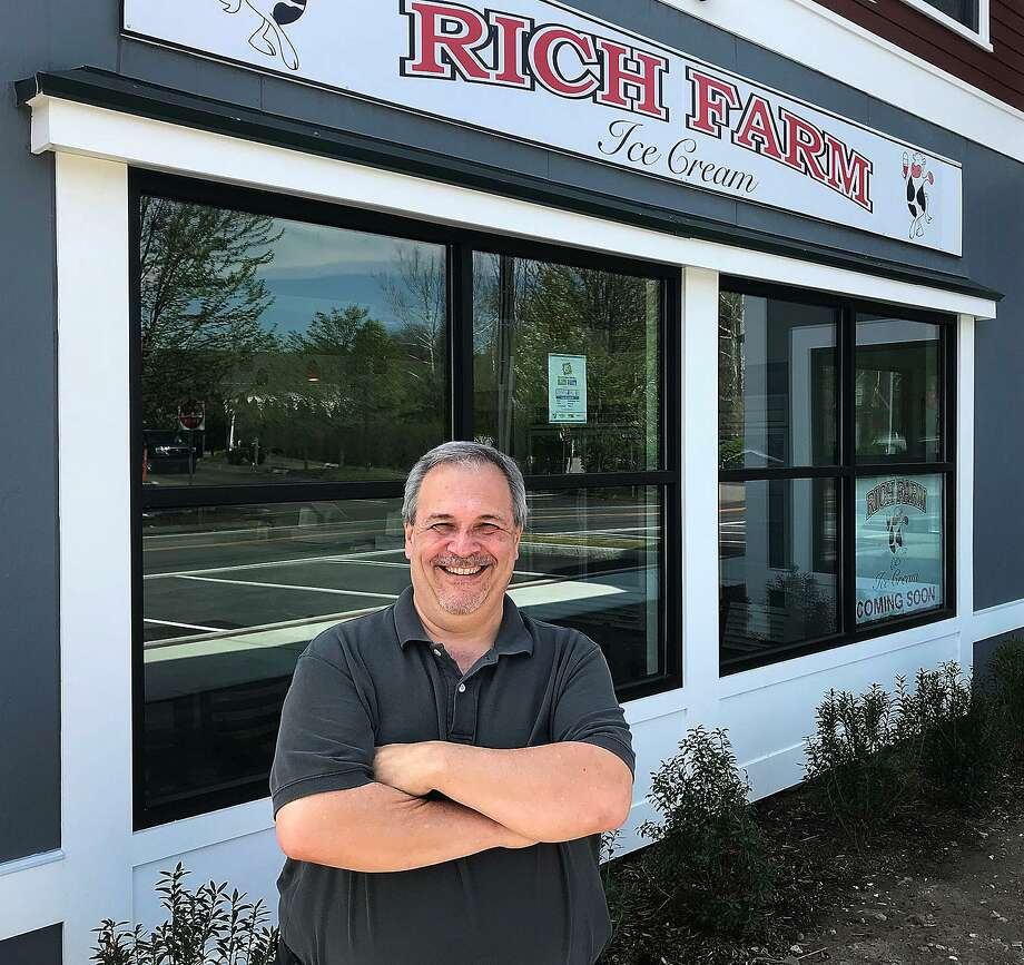 Mark DePaolis, franchise owner, stands in front of his Rich Farm Ice Cream store in Brookfield Village in Brookfield, Conn., on Monday, May 7, 2018. DePaolis will open the stand on Monday, May 14. Photo: Chris Bosak / Hearst Connecticut Media / The News-Times