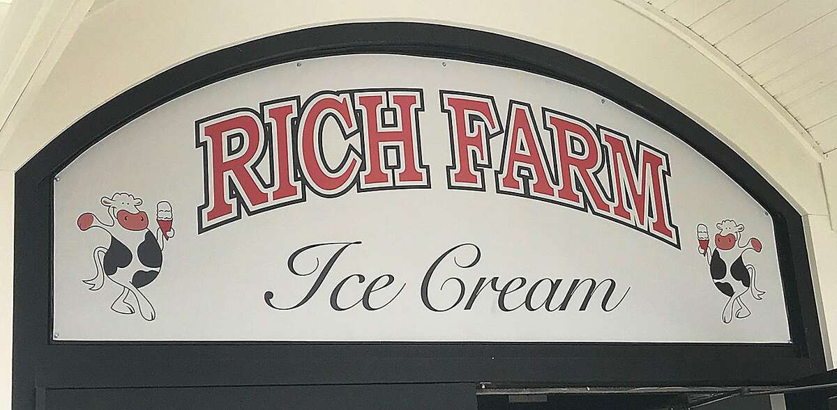 A sign above the entrance to Rich Farm Ice Cream in Brookfield, Conn., on Monday, May 7, 2018.