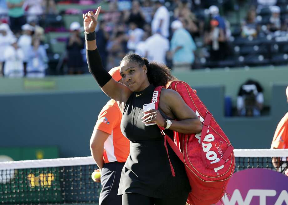 Serena Williams walks off the court after losing to Naomi Osaka at the Miami Open in March. Photo: Lynne Sladky / Associated Press