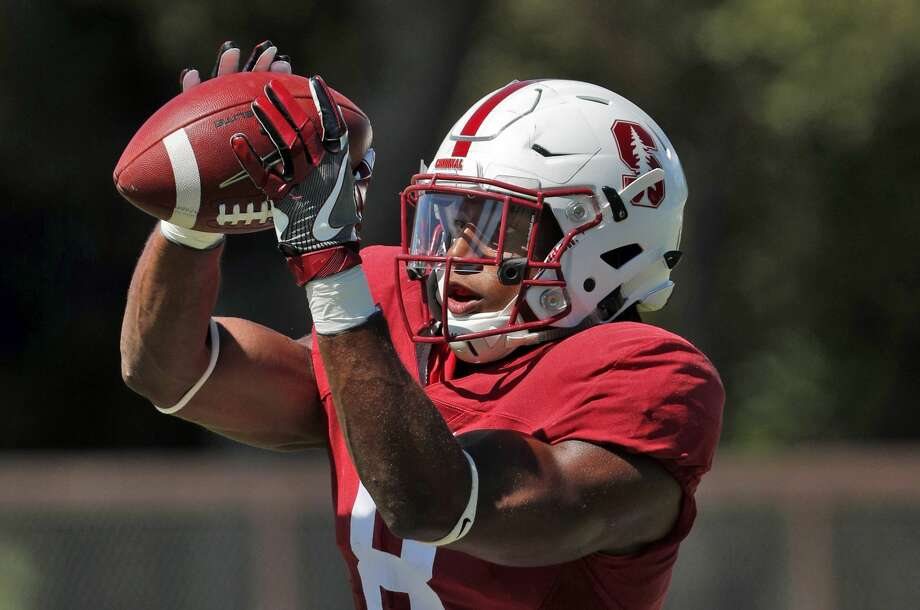 Strong safety Justin Reid (8) catches a ball while doing drills during Stanford football practice at Stanford, Calif., on Sunday, August 13, 2017. Photo: Carlos Avila Gonzalez/The Chronicle