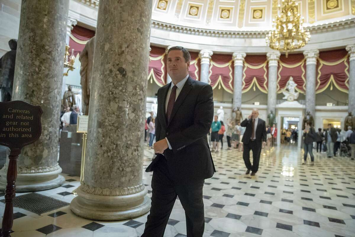 House Intelligence Committee Chairman Devin Nunes, R-Calif., walks to the chamber at the Capitol in Washington, Thursday, May 10, 2018. Democrats on the House intelligence committee have released more than 3,500 Facebook ads that were created or promoted by a Russian internet agency, providing the fullest picture yet of Russia's attempt to sow racial and political division in the United States before and after the 2016 election. (AP Photo/J. Scott Applewhite)