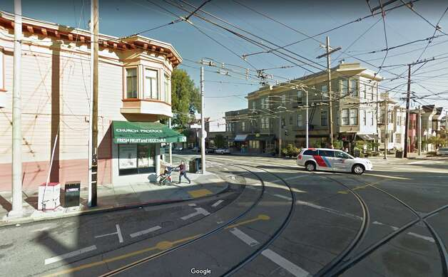 The streets are still criss-crossed with Muni tracks. Sadly, Johnnie's Fountain Grill is gone. Photo: Google Street View