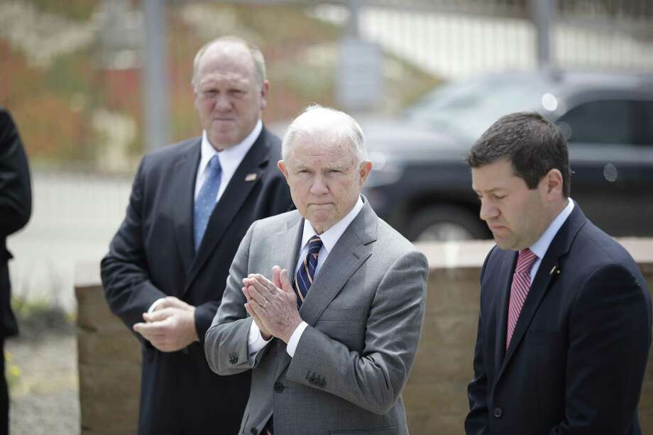 Attorney General Jeff Sessions during a news conference near the border with Tijuana, Mexico, Monday. He announced a zero-tolerance policy with the goal of criminally prosecuting all apprehened crossing the border without documents. Photo: Gregory Bull /Associated Press / Copyright 2018 The Associated Press. All rights reserved.